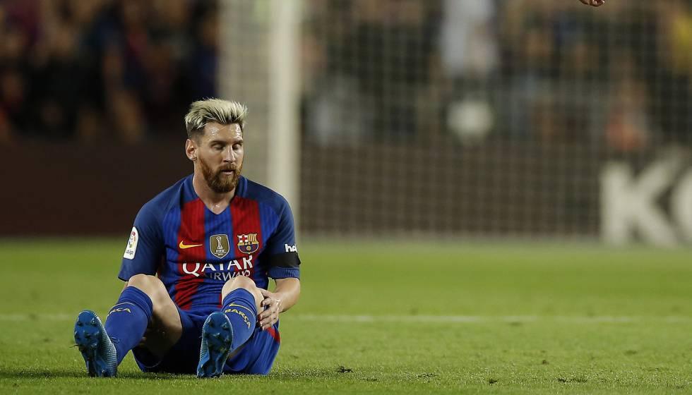 Messi no jogo contra o Atlético de Madrid.