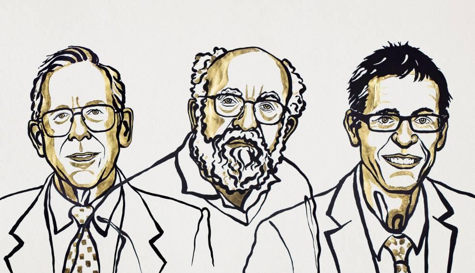 James Peebles, Michel Mayor e Didier Queloz, prêmios Nobel de Física, em um desenho distribuído pela Fundação Nobel.