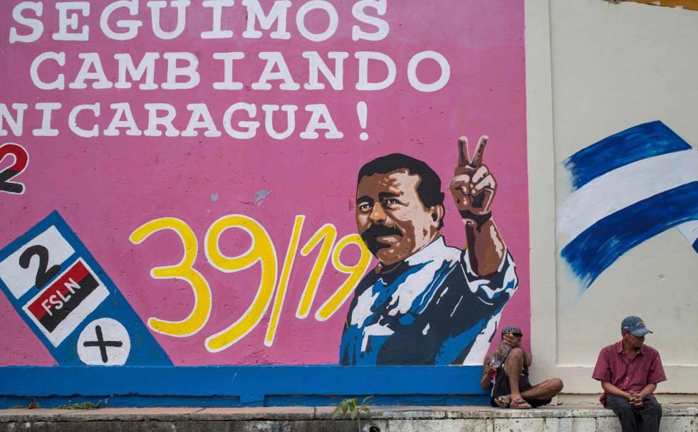 Um mural de Daniel Ortega na cidade de Estelí.