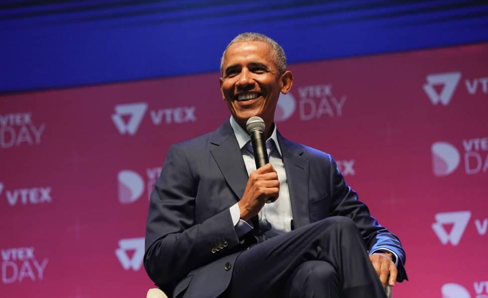 Barack Obama em evento em São Paulo.