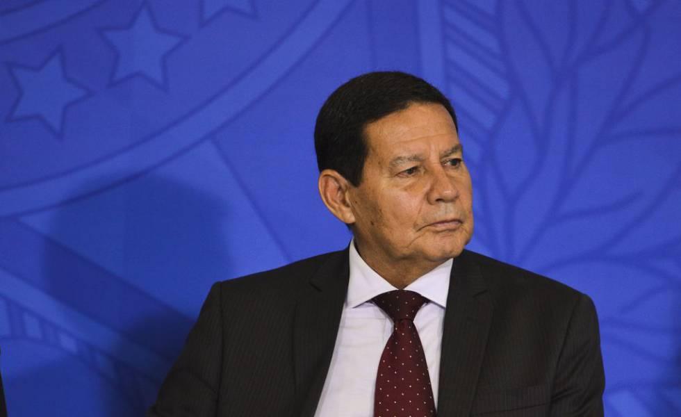 O vice-presidente, Hamilton Mourão, em cerimônia no Palácio do Planalto no dia 24 de abril