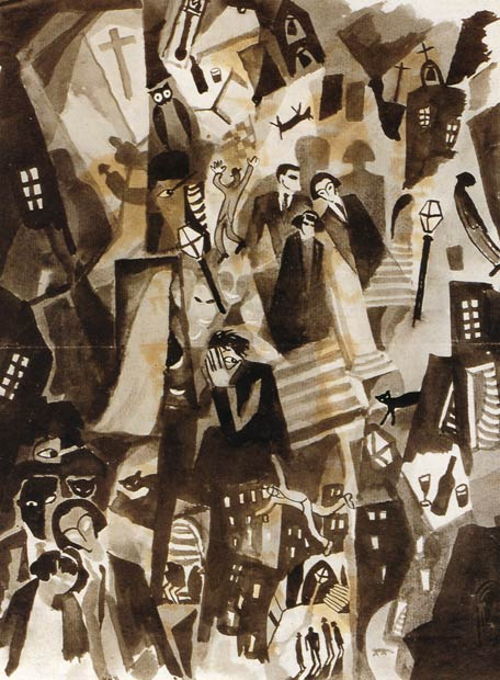 Sobre estas líneas, la obra <i>Sueños noctámbulos</i>, de 1922.