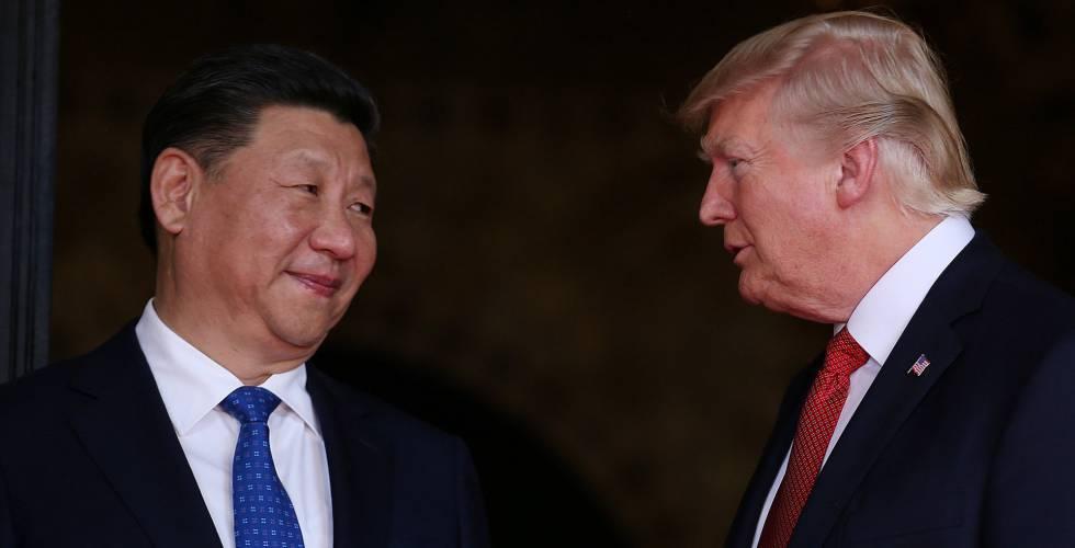 O presidente Donald Trump com Xi Jinping em Mar-a-Lago.