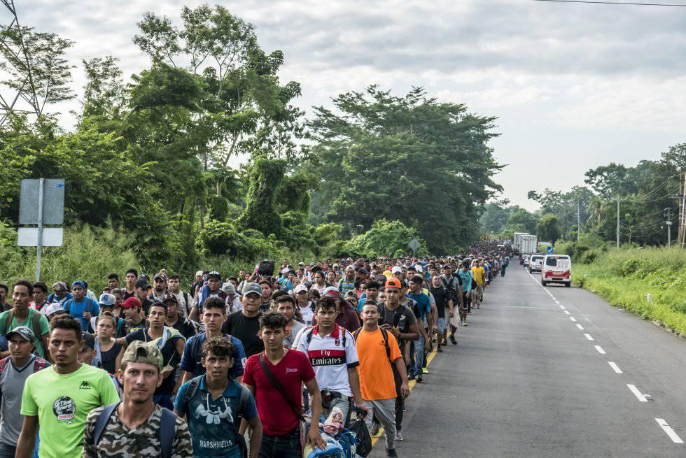A caravana de migrantes no México.