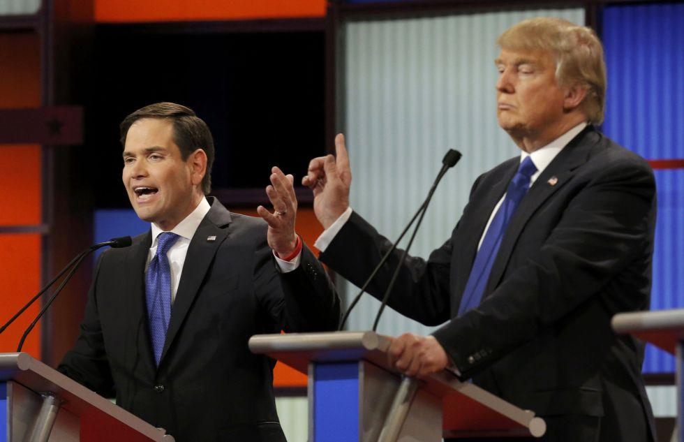 Rubio (à esq.) e Trump: diálogos mais tensos da noite.