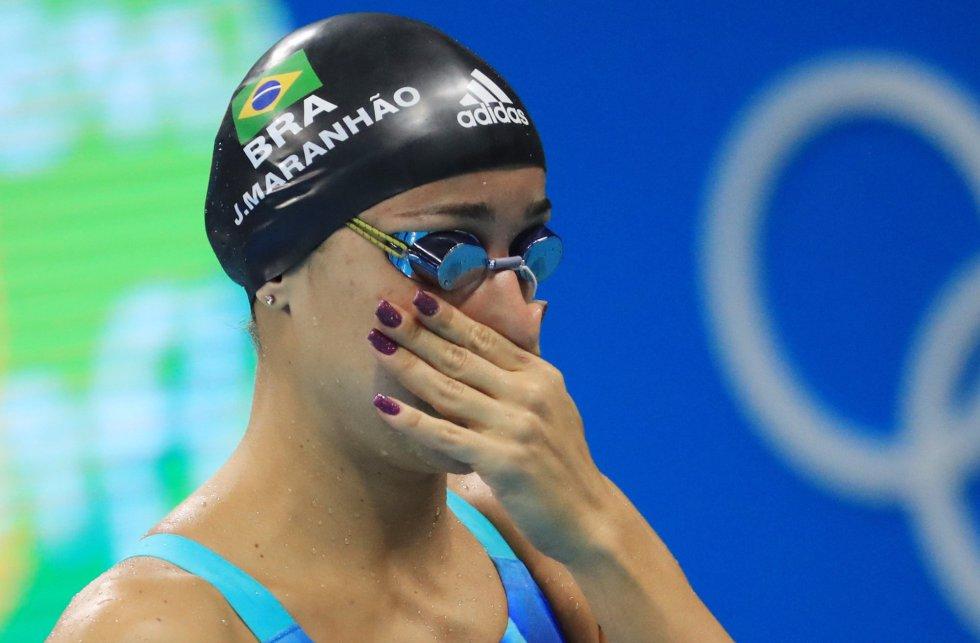 Joanna Maranhão se prepara para disputar os 200m borboleta. A nadadora ficou fora das finais dessa prova e das disputas por medalha nos 400 m medley e nos 200 m medley e depois fez uma longa declaração na qual protestou contra as ofensas que sofreu nas redes sociais.