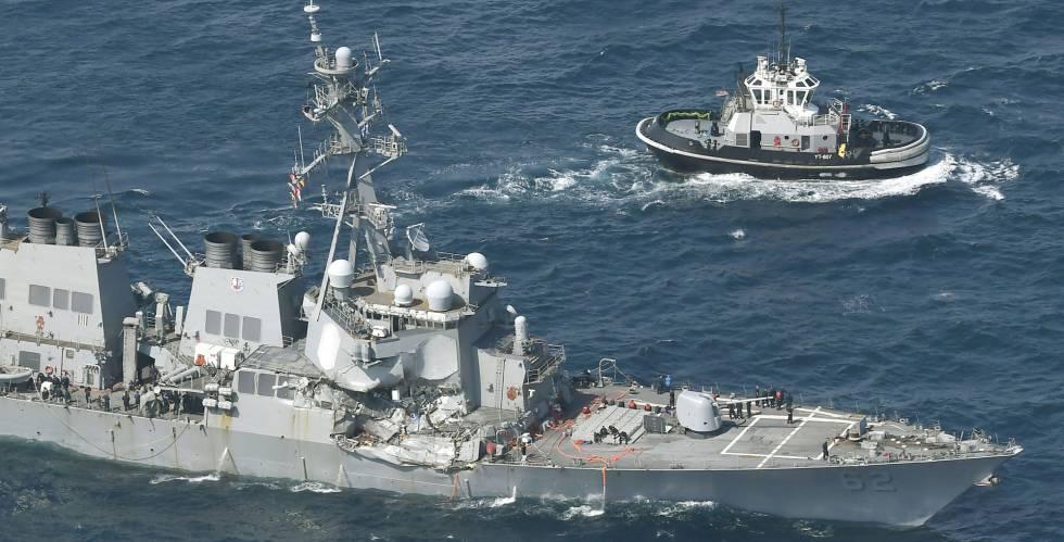 O USS Fitzgerald, após o choque