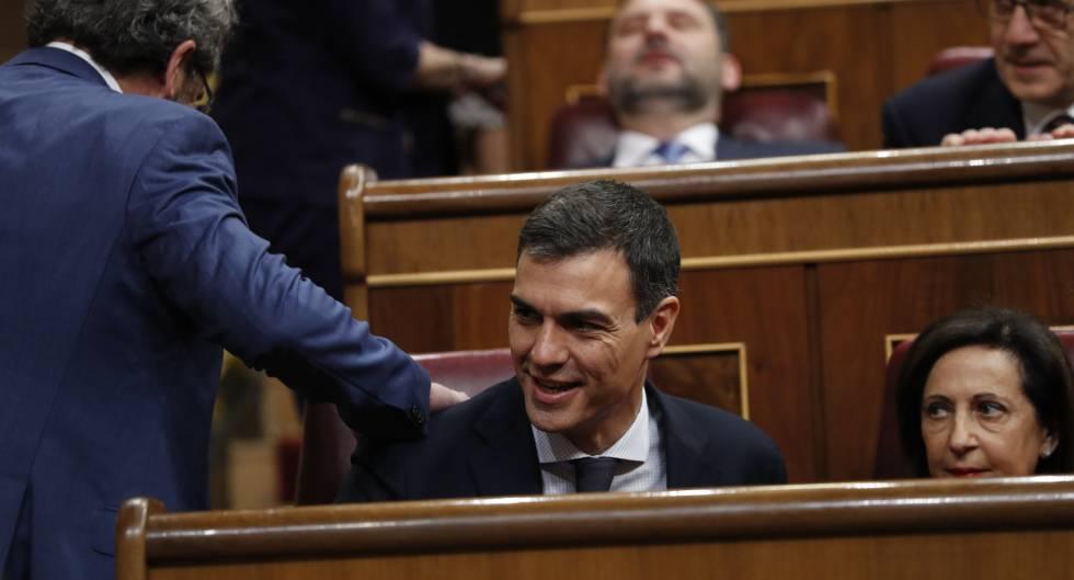 Pedro Sánchez, na segunda sessão da moção de censura contra Rajoy.