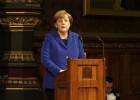 A chanceler alemã elogia o papel da Grã-Bretanha sem fechar nem abrir a porta às reformas que Cameron pretende impulsionar