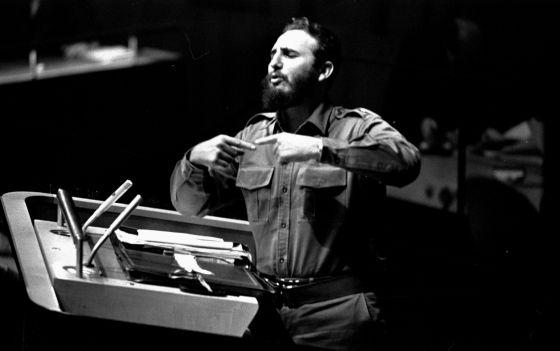 Fidel Castro durante seu histórico discurso na ONU em 1960.