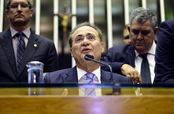 O presidente do Congresso, Renan Calheiros, na votação dos vetos.
