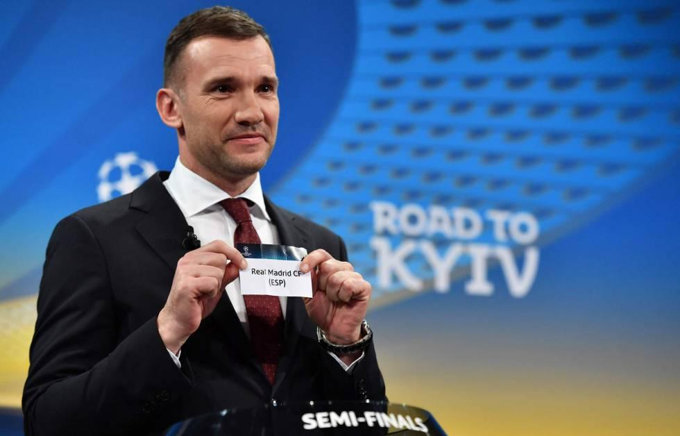 O ex-atacante Andriy Shevchenko participou do sorteio da Champions.