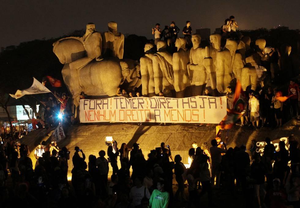 Protesto contra o Governo Temer em São Paulo, no último domingo.