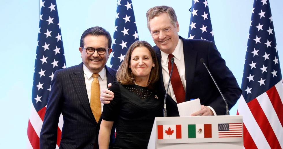 Os negociadores-chefes dos três países, Chrystia Freeland (Canadá), Robert Lighthizer (EUA) e Ildefonso Guajardo (México), em março passado.
