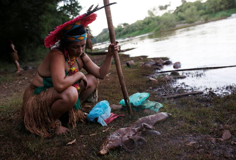 Mulher indígena observa um peixe morto na beira do rio Paraopeba, nesta segunda-feira, 28 de janeiro.