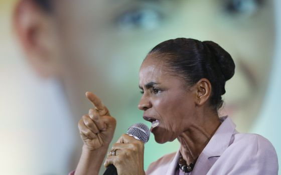 Marina Silva discursa em São Paulo, no dia 24.
