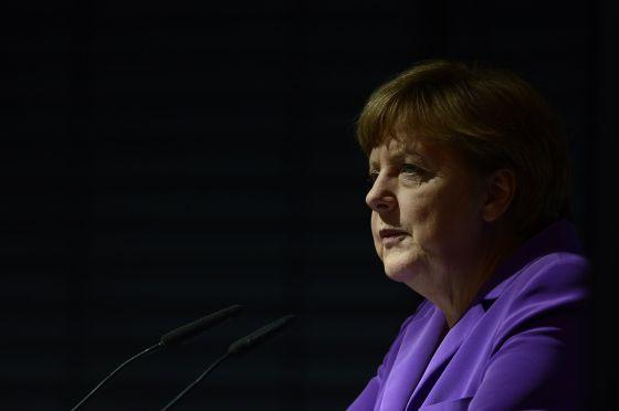Angela Merkel, em um ato em Berlim em 29 de abril.