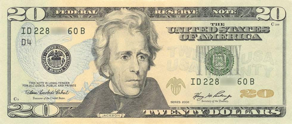 Nota de 20 dólares com a efígie de Andrew Jackson.
