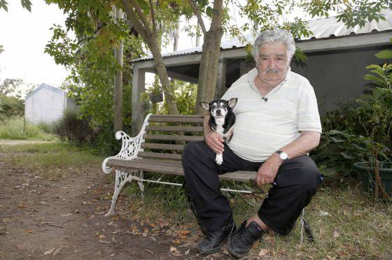 José Mujica em frente a sua casa em Montevidéu, com sua cadela Manuela, no último dia 25.