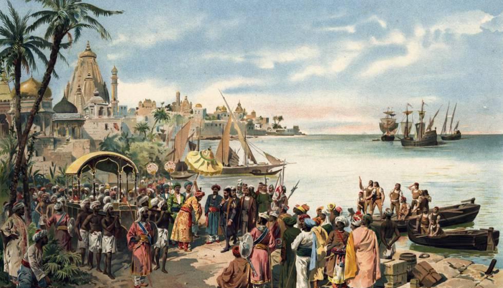 A chegada de Vasco da Gama a Calcutá, numa imagem de época.