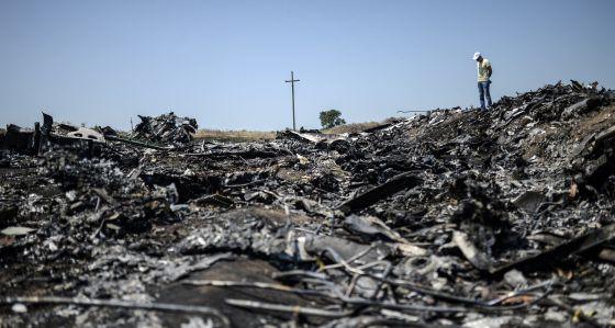 Um homem junto aos restos do avião de Malaysia Airlines. (AFP)