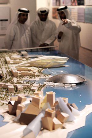 Uma maquete do museu Louvre Abu Dabi feita por Jean Nouvel.