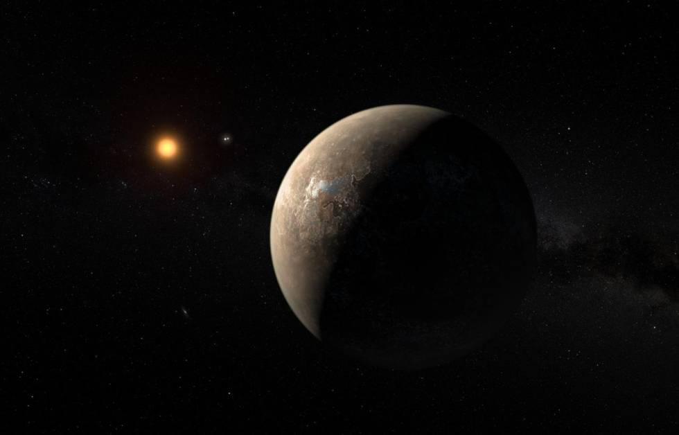 Reconstrução do planeta Proxima B.