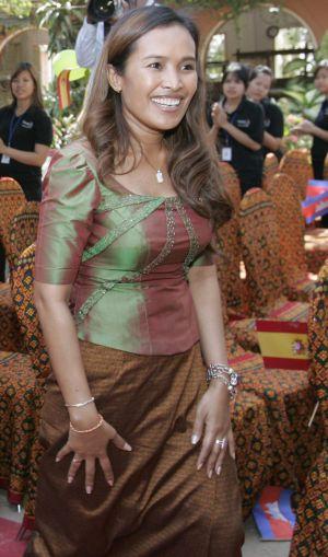 A ativista Somaly Mam durante uma cerimônia em 2008.