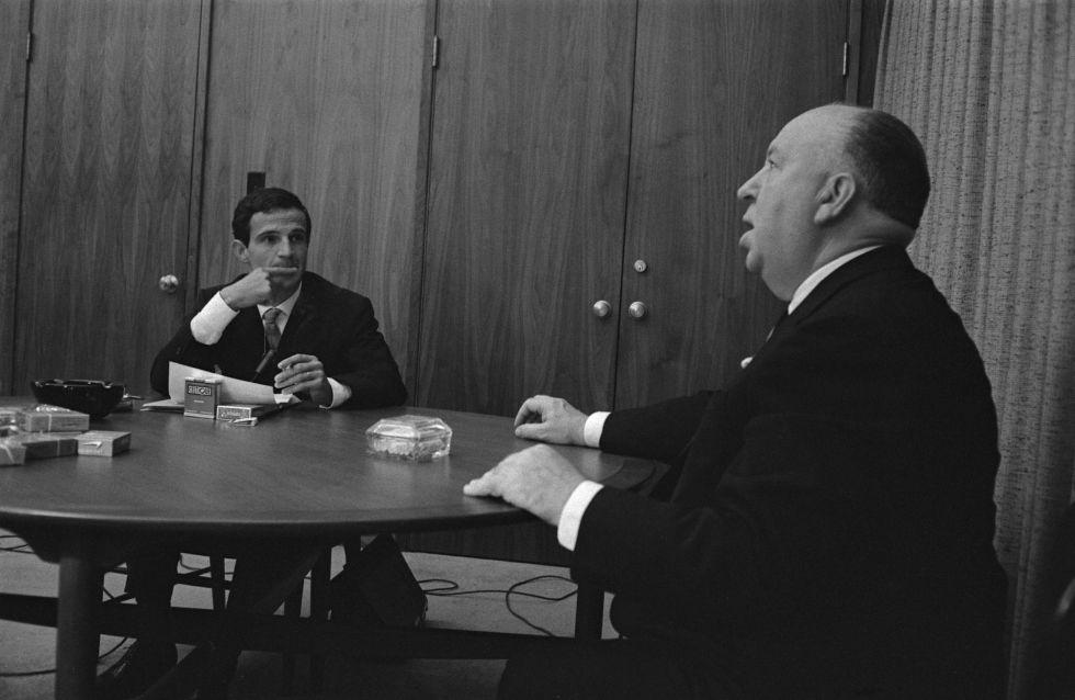 Truffaut e Hitchcock durante encontro em Los Angeles, em 1962.