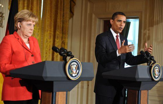 Angela Merkel e Barack Obama em 2009 na Casa Branca.