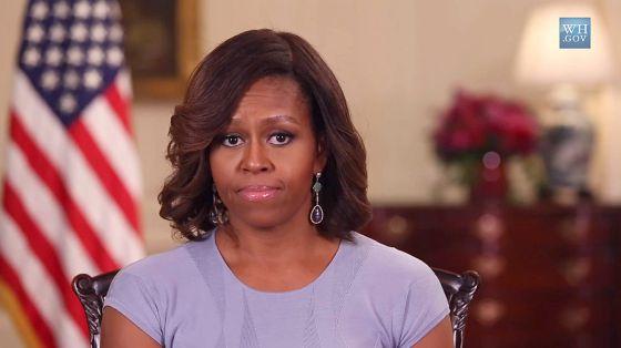 A primeira dama durante sua mensagem da Casa Branca.