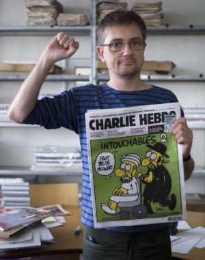 Diretor do semanário satírico Charlie Hebdo, Charb, em Paris.