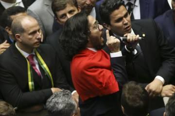 Jean Wyllys durante a votação do impeachment na Câmara de Deputados, em 17 de abril.
