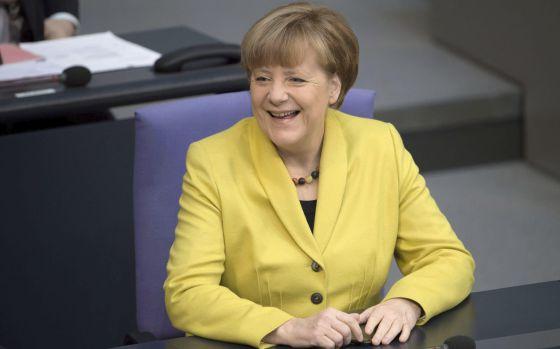 Merkel durante a sessão do Parlamento alemão.