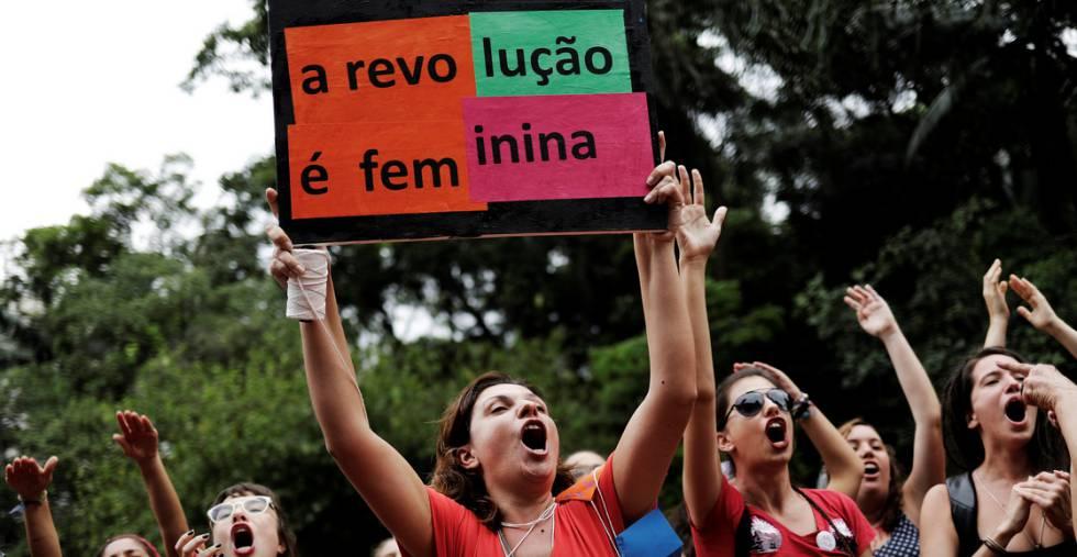 Marcha feminista em São Paulo.
