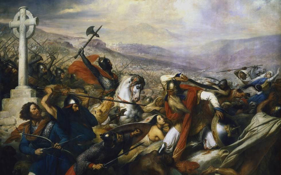 'A batalha de Poitiers', óleo pintado em 1837 por Charles de Steuben.