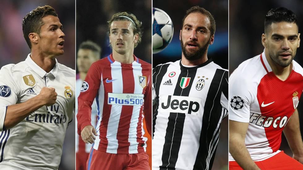 Cristiano, Griezmann, Higuaín e Falcão.