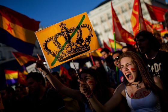 Marcha a favor de um referendo sobre a Monarquia em Madri.