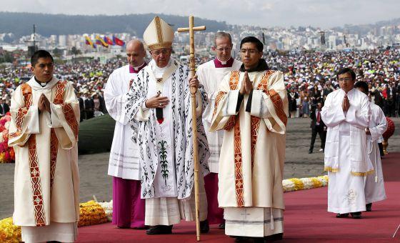 O Papa, em sua visita a Quito.