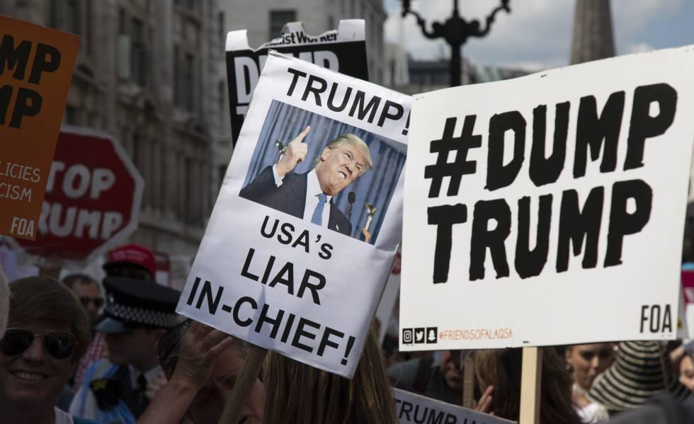 Manifestação contra Trump, em Londres, em 2018.