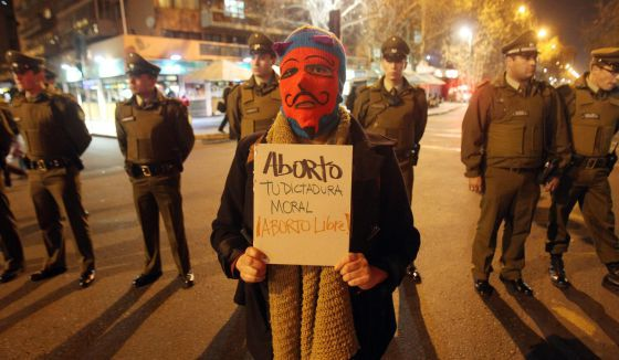 Manifestação a favor do aborto em Santiago.