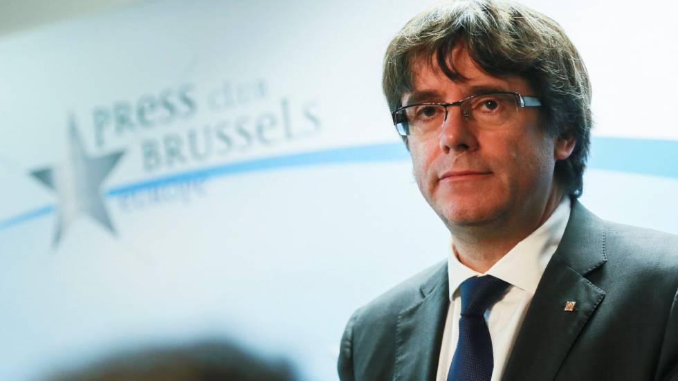 O presidente cassado do Governo local da Catalunha Carles Puigdemont nesta terça-feira em Bruxelas