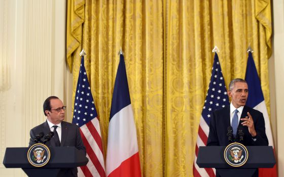Obama e Hollande na Casa Branca.