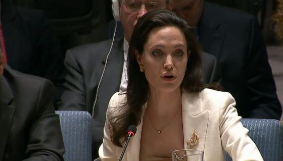 Angelina Jolie durante participação na ONU em abril.