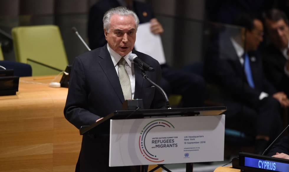 Michel Temer em discurso nas Nações Unidas.