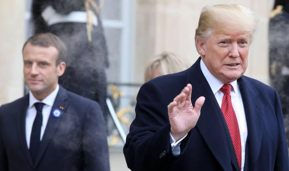 Trump (direita) e Macron, neste sábado em Paris.