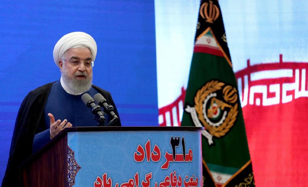 O presidente iraniano, Hasan Rohani, durante o anúncio de um novo sistema antimísseis, na semana passada.
