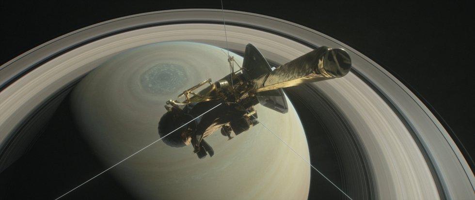 Ilustração mostra a nave Cassini, que se prepara para entrar em órbita em torno do planeta Saturno e seus anéis interiores como parte final de sua missão espacial, que está prevista para este dia 27 de abril, quando poderá atravessar os cerca de 2.700 quilômetros desse espaço. Após completar essa etapa, a nave entrará em Saturno para colher dados de seu interior a partir de setembro.