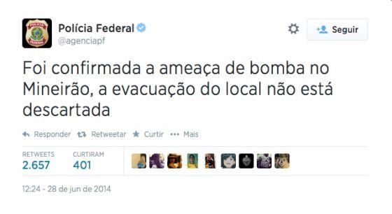 Captura do post hackeado no Twitter oficial da Polícia Federal.