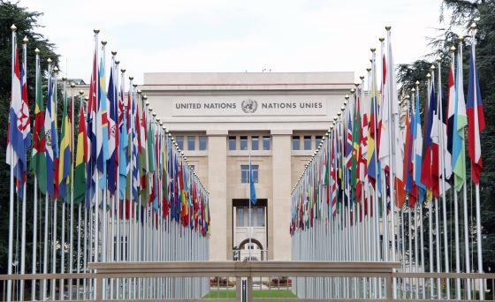 Fachada da sede da ONU em Genebra (Suíça), em 19 de junho de 2014.